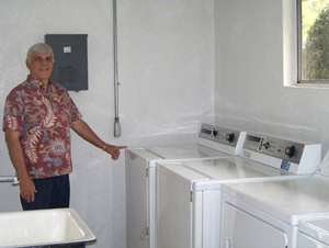 Leisure World Resident Clarence Fuqua in the laundry room