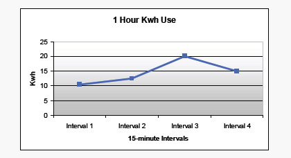 One hour electric use graph example